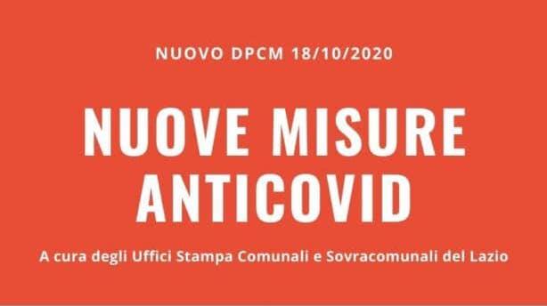 COVID 19: NUOVO DPCM DEL 18 OTTOBRE 2020