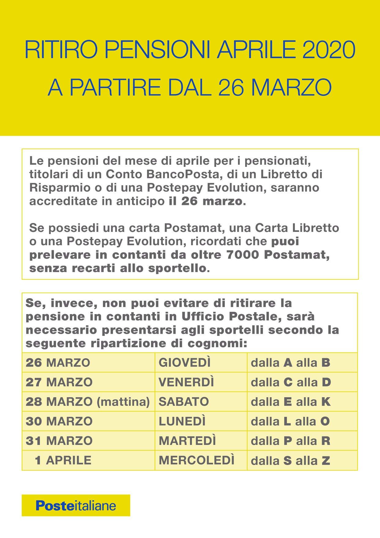 Ritiro Pensioni Aprile 2020 A PARTIRE DAL 26 MARZO