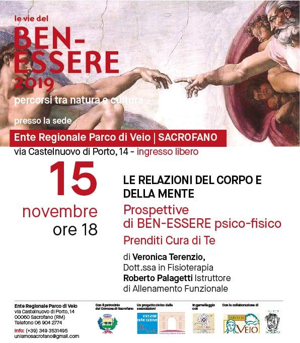 Quarto incontro con  Le Vie del Benessere - Venerdì 15 novembre ore 18:00 - Presso la sede del Parco di Veio - Via Castelnuovo di Porto, 14.