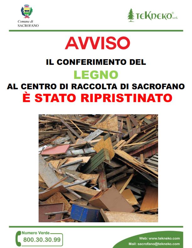 Avviso alla Cittadinanza - Ripristino Conferimento del legno al centro di Raccolta