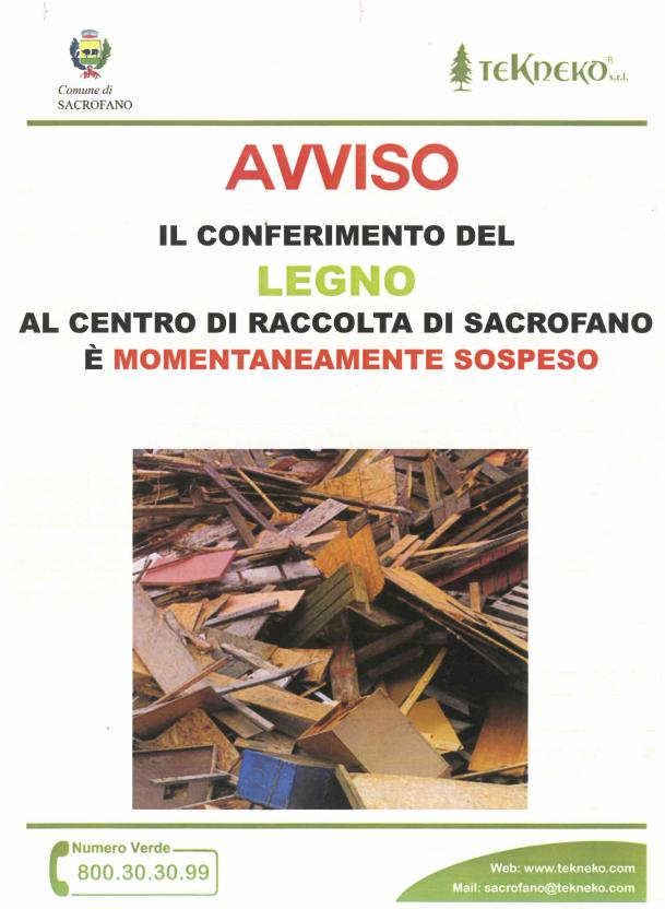Avviso alla Cittadinanza - Sospensione Conferimento del legno al centro di Raccolta