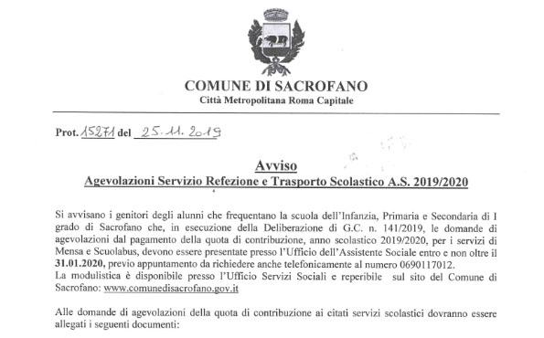 Agevolazione Servizio Refezione e Trasporto Scolastico A.S. 2019/2020