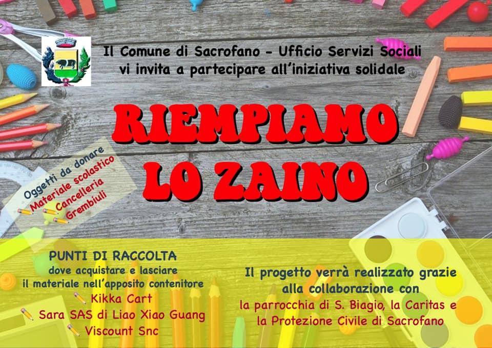 RIEMPIAMO LO ZAINO: al via a Sacrofano l'iniziativa solidale